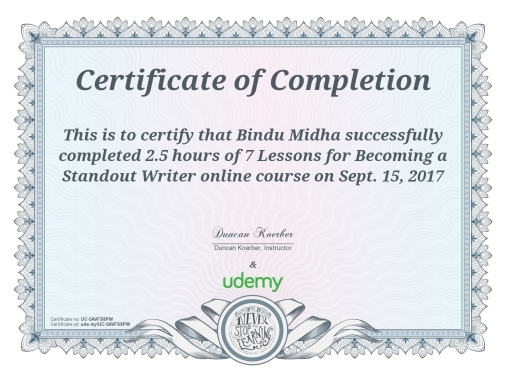 Udemy Certificate, Sept,2017