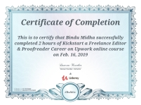 Udemy Certificate, February,2019
